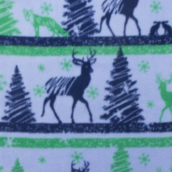 CRYSTAL Anti-pill Fleece Print - Christmas deer - blue / green
