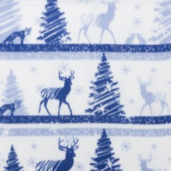 CRYSTAL Anti-pill Fleece Print - Christmas deer - light blue / navy