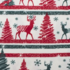 CRYSTAL Anti-pill Fleece Print - Christmas deer - ivory / red