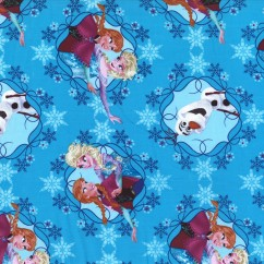 Printed Cotton - Frozen Sisters and Olaf - Blue