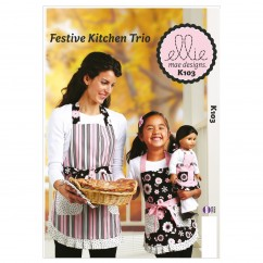 "K0103 Festive Kitchen Trio (size: Misses S-M-L; Girls S-M-L; Doll 18"" (45cm))"