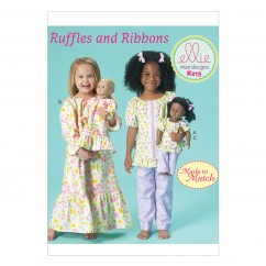 """K0213 Girls'/18"""" Dolls' Top, Gown and Pants (size: XXS - L)"""