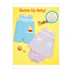 K0220 Infants' Buttoned and Appliquéd Overalls, Dress and Panties (size: S-M-L-XL-XXL)