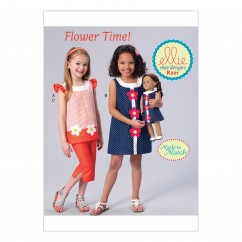 """K0221 Girls' Banded, Appliquéd Dress, Top and Capris, with Dress for 18"""" Doll (size: XXS-XS-S-M-L)"""