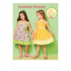 K0232 Girls' Lined Dresses with Contrast Bands (size: XXS-XS-S-M-L)