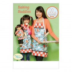 "K0234 Misses'/Girls' and 18"" Doll Lined Aprons with Patch Pockets and Bands (size: S-M-L (Misses & Girls))"