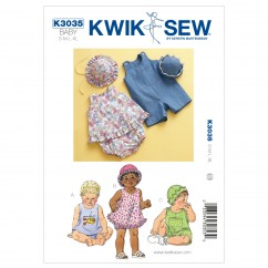 K3035 Sundress, Bloomers, Shortalls & Hats (size: S-M-L-XL)