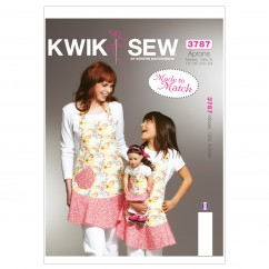 "K3787 Misses', Girls' & Dolls' Aprons (size: Misses S-M-L; Girls S-M-L; Doll 18"" (45cm))"