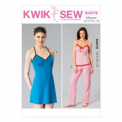 K4072 Misses' Camisole, Chemise and Pants (size: All Sizes In One Envelope)