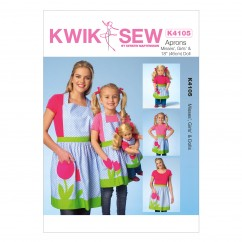 K4105 Misses'/Girls'/Dolls' Aprons (size: S - L)