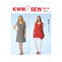 K4115 Women's Dress, Belt, Tunic and Pants (size: 1X - 4X)