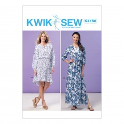 K4156 Misses' Elastic-Waist Peasant Dresses and Sash (size: All Sizes in One Envelope)