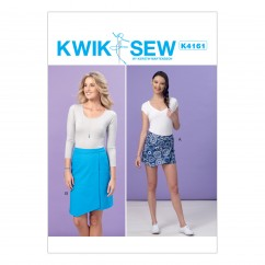 K4161 Misses' Shaped-Overlay Skort and Skirt (size: All Sizes in One Envelope)