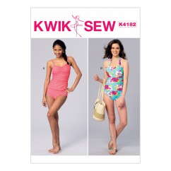 K4182 Misses' Ruched Tankini and One-Piece Halter Swimsuit (size: XS-S-M-L-XL)