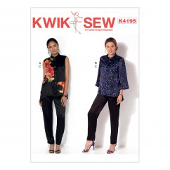 K4195 Misses' Button-Down Vest and Jacket, and Pull-On Pants (size: XS-S-M-L-XL)