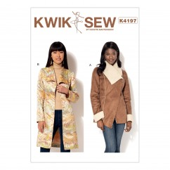 K4197 Misses' Shawl Collar Jacket and Coat (size: XS-S-M-L-XL)