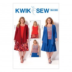 K4199 Women's Draped Jacket, Tank Top and Gored Skirt (size: 1X-2X-3X-4X)