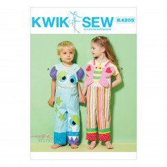 K4205 Toddlers' Color-Blocked Overalls with Monster or Butterfly Bibs (size: T1-T2-T3-T4)