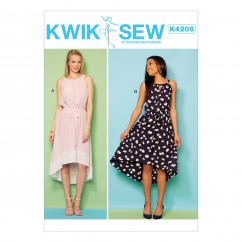 K4206 Misses' High-Low Sleeveless Dresses with Neckline Gathers (size: XS-S-M-L-XL)