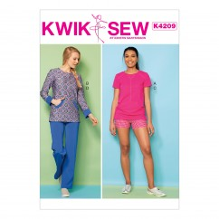 K4209 Misses' Knit Tops with Kangaroo Pocket, Shorts and Pants (size: XS-S-M-L-XL)