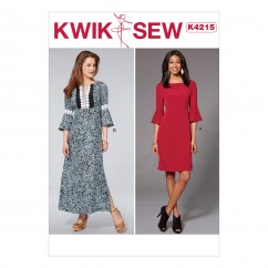 K4215 Misses' Dresses with Flounce Sleeves (size: XS-S-M-L-XL)