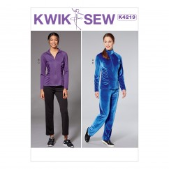 K4219 Misses' Shirred Top, Jacket, and Pants (size: XS-S-M-L-XL)