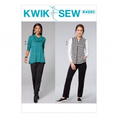 K4220 Misses' Cowl Neck Top, Vest and Pull-on Pants (size: XS-S-M-L-XL)