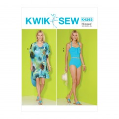 K4263 Misses' Tank Top, Bottom and Cover-Up (size: XS-S-M-L-XL)