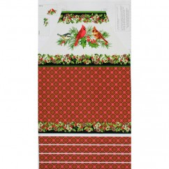 Home for the Holidays Cotton Prints - Loving Birds Panel - Red/ White