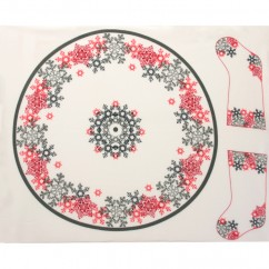 Christmas Tree Skirt & Stocking Panel - Snowflake - White