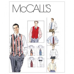 M2447 Men's Lined Vest, Shirt, Tie In Two Lengths and Bow Tie (size: SML-MED-LRG)