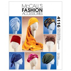 M4116 Misses' Turban, Headwrap & Caps (size: All Sizes In One Envelope)