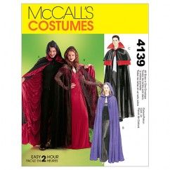 M4139 Misses'/Men's/Teen Boys' Lined & Unlined Cape Costumes (size: All Sizes In One Envelope)