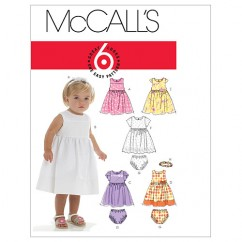 M6015 Infants' Lined Dresses, Panties And Headband (size: All Sizes In One Envelope)