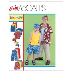 M6099 Children's/Boys' Shirt, Tank Top, Pull-On Cropped Pants, Pull-On Shorts and Headwrap (size: XSM-SML)