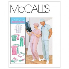 M6107 Misses'/Men's Lab Coat, Dress, Top, Pull-On Pants, Hats and Tie Belt (size: XLG-XXL)