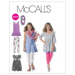 M6275 Girls'/Girls' Plus Dresses, Scarf and Leggings (size: (7-8) (10-12) (14))