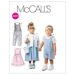 M6304 Toddlers' Rompers In 2 Lengths, Dress, Jacket and Shirt (size: 1-2-3)