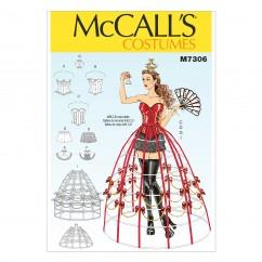 M7306 Corsets, Shorts, Collars, Hoop Skirts and Crown (size: 6-8-10-12-14)