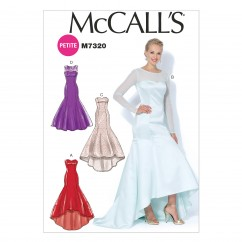 M7320 Misses'/Miss Petite Mermaid-Hem and High-Low Dresses (Size: 6-8-10-12-14)