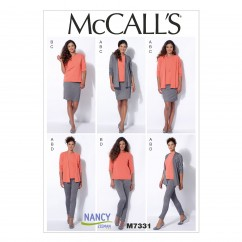 M7331 Misses' Cardigan, T-Shirt, Pencil Skirt and Leggings (Size: 6-8-10-12-14)