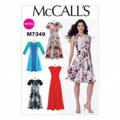 M7349 Misses'/Miss Petite Sleeveless or Raglan Sleeve, Fit and Flare Dresses (size: 14-16-18-20-22)