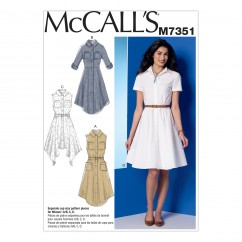 M7351 Misses' Shirtdresses with Pockets and Belt (size: 14-16-18-20-22)