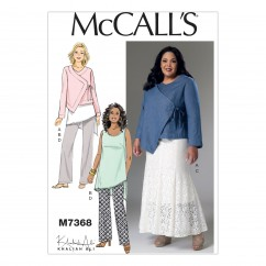 M7368 Misses'/Women's Asymmetrical Jacket, Tunic, Gored Skirt and Pants (size: 8-10-12-14-16)
