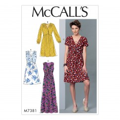 M7381 Misses' Pleated Dresses with Optional Front-Tie (size: XSM-SML-MED)