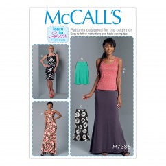 M7386 Misses' Knit Tank Top, Dresses and Skirts (size: XSM-SML-MED)