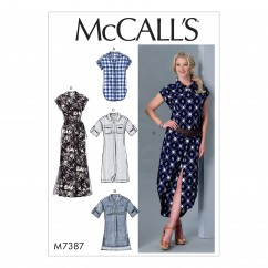 M7387 Misses' Button-Down Top, Tunic, Dresses and Belt (size: XSM-SML-MED)