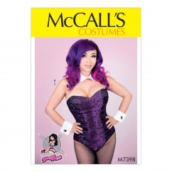 M7398 Misses' Bodysuit Corset, Collar, Cuffs and Tail (size: 14-16-18-20-22)