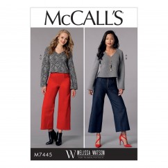 M7445 Misses' V-Neck Top and Cropped, Wide-Leg Pant (size: 6-8-10-12-14)