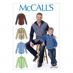 M7447 Men's/Boys' Button-Down Shirts with Hood or Collar (size: 34-36-38-40-42-44-46-48 (Men))